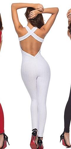 abordables -Femme Dos ouvert Combinaison Combinaison d'entraînement Des sports Couleur unie Spandex Taille Haute Le Maillot de corps Zumba Yoga Course / Running Sans Manches Tenues de Sport Anti-transpiration