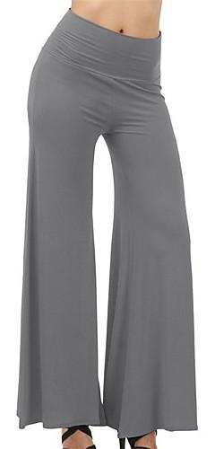 abordables -Femme Palazzo Wide Leg Pantalon de yoga Des sports Couleur unie Coton Taille Haute Bas Zumba Danse Course / Running Grandes Tailles Tenues de Sport Respirable Doux Butt Lift Contrôle du Ventre