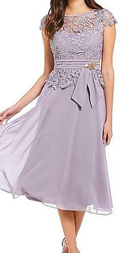 זול -מותניים גבוהים עד הברך אחיד - שמלה שיפון סווינג תחרה מידות גדולות ליציאה בגדי ריקוד נשים