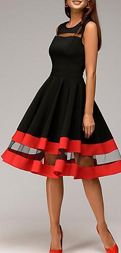 זול -עד הברך אחיד - שמלה נדן בסיסי בגדי ריקוד נשים