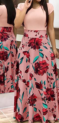 זול -מקסי טלאים, גיאומטרי - שמלה סווינג בסיסי בגדי ריקוד נשים