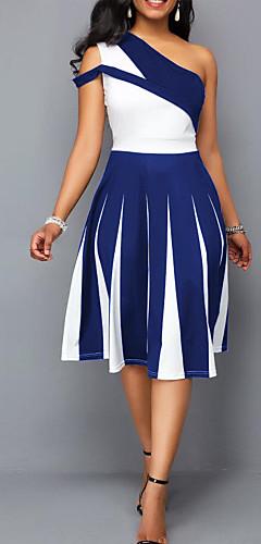 זול -כתפיה אחת מידי פסים קולור בלוק - שמלה מידות גדולות סקסי Party בגדי ריקוד נשים