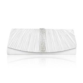 billige Salg-Dame Krystall / Rhinstein Satin Aftenveske Rhinestone Crystal Evening Bags Sølv / Beige / Rød