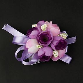 """baratos Flores-Bouquets de Noiva Buquê de Pulso Casamento Cetim / Algodão 3.15""""(Aprox.8cm)"""