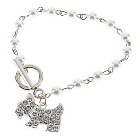 baratos Pulseira de Charme-Mulheres Pulseiras com Pendentes Cachorros Animal Pérola Pulseira de jóias Prata Para Casamento / Resina