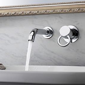 billige Krom Series-Baderom Sink Tappekran - Roterbar Krom Vægmonteret To Huller / Enkelt håndtak To HullerBath Taps