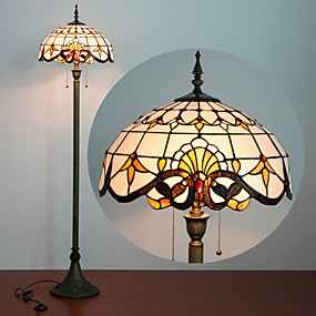 billige Tiffany Lamper-Floor Lamp, 2 Light, Tiffany Karakteristisk Resin Glass lakkeringsmetode