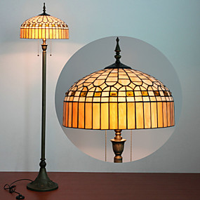 abordables Lampe Tiffany-Ger design Lampadaire, 2 Light, Tiffany Resin Process Peinture sur verre