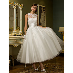 cheap Weddings & Events-A-Line High Neck Ankle Length Lace Over Tulle Made-To-Measure Wedding Dresses with Appliques / Sash / Ribbon / Ruched by LAN TING BRIDE® / See-Through