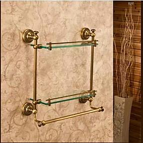 hesapli Banyo Rafları-Banyo Rafı En iyi kalite Antik Pirinç / Cam 1 parça - Otel banyo