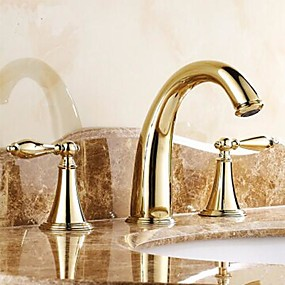 cheap Bathroom Sink Faucets-Traditional Widespread Ceramic Valve Three Holes Two Handles Three Holes for  Ti-PVD , Bathroom Sink Faucet