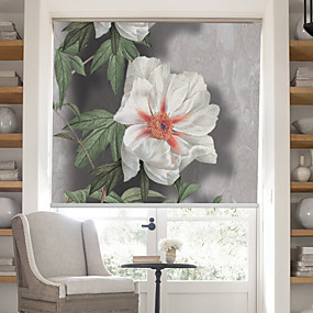 billige Rullegardiner-Lifelike Blooms And Bees Country Style Roller Shade