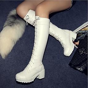billige Mote Boots-Dame Tykk hæl / Blokker hælen Mikrofiber 45,72 cm-50,8 cm / Knehøye støvler Klassisk Høst / Vinter Svart / Hvit / EU40