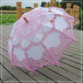 voordelige Bloemenmeisjesaccessoires-vintage mooie roze patchwork fashional geborduurd battenburg kant handgemaakte bruids parasol bloem meisje paraplu