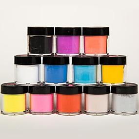 billige Nail Glitter-Akryl Til finger tå Smuk / 12 farver Negle kunst Manicure Pedicure Frugt / Blomst / Abstrakt Daglig / Tegneserie / Punk