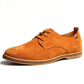 cheap Men's Shoes-Men's Suede Shoes Leatherette Spring / Fall British Oxfords Brown / Green / Khaki / Lace-up / Comfort Shoes / EU40