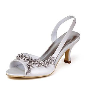 Недорогие Обувь и сумки-женская обувь атласная / эластичная атласная летние босоножки на петлях стилет каблук горный хрусталь розовый / шампанское / слоновая кость / свадьба