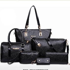 preiswerte Taschensets-Damen Taschen Lackleder Tragetasche / Umhängetasche / Bag Set Solide Schwarz / Rot / Blau / Beutel Sets