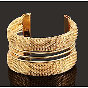 baratos Pulseiras Vintage-Pulseiras Algema Vintage Festa Trabalho Casual Ajustável Chapeado Dourado Pulseira de jóias Cor Ecrã Para