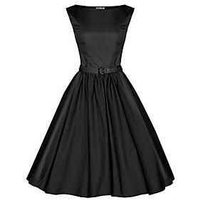 Χαμηλού Κόστους Ξεπούλημα-Γυναικεία Μεγάλα Μεγέθη Πάρτι Βίντατζ Βαμβάκι Swing Φόρεμα - Μονόχρωμο Ως το Γόνατο Χαμόγελο Μαύρο