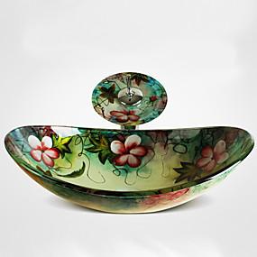 billige Frittstående vask-Baderomsvask / Baderomskran / Baderom Monteringsring Moderne - Herdet Glass Rektangulær Vessel Sink