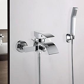 cheap 80% OFF-Bathtub Faucet - Contemporary Chrome Wall Mounted Ceramic Valve Bath Shower Mixer Taps