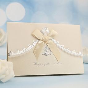 voordelige Feestbedankjes & cadeaus-Zij Vouw Uitnodigingen van het Huwelijk-Uitnodigingskaarten Parel Papier