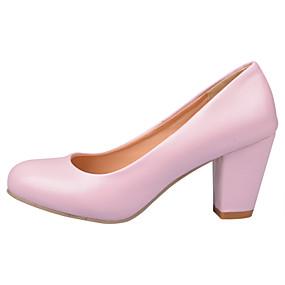 voordelige Wijdere maten schoenen-Dames Hoge hakken Blokhak Ronde Teen PU Comfortabel / Bloemenmeisjesschoenen Wandelen Zomer / Herfst Zwart / Beige / Roze / Formeel / 2-3