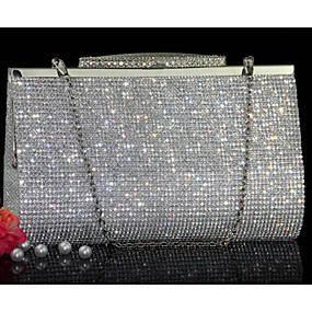 cheap Shoes & Bags & Jewelry & Watches-Women's Bags Other Leather Type Evening Bag Crystals Gold / Silver