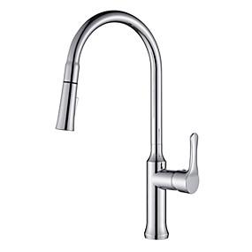 abordables Spray Amovible-Robinet de Cuisine - 1 trou Chrome Pull-out / Pull-down Montage Moderne Kitchen Taps / Laiton / Mitigeur un trou