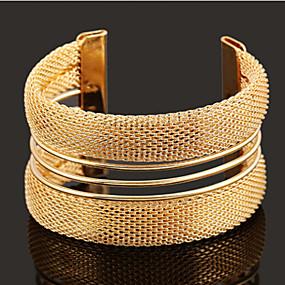 baratos Pulseiras Vintage-Mulheres Pulseiras Algema Pulseira larga Oco senhoras Clássico Aberto Liga Pulseira de jóias Dourado Para Diário Casual