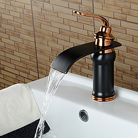 cheap Bathroom Sink Faucets-Bathroom Sink Faucet - Waterfall Oil-rubbed Bronze Widespread Single Handle One HoleBath Taps / Brass