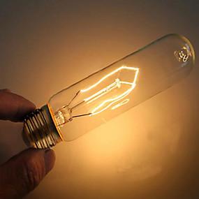 billige Glødelampe-1pc 40 W E26 / E27 T10 Varm hvit 2000 k Dekorativ Glødende Vintage Edison lyspære 220-240 V