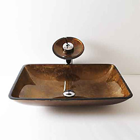 cheap Vessel Sinks-Contemporary Rectangular Sink Material is Tempered Glass Bathroom Sink Bathroom Faucet Bathroom Mounting Ring Bathroom Water Drain