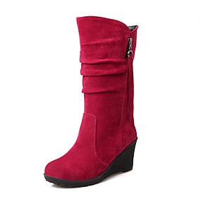 voordelige Wijdere maten schoenen-Dames Laarzen Sleehak Ronde Teen Rits / Kwastje Fleece Kuitlaarzen Comfortabel / Snowboots Wandelen Herfst / Winter Zwart / Groen / Rood / EU40