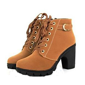 رخيصةأون أحزية بوت نسائية-نسائي كتلة أحذية كعب جلد الخريف / الشتاء جزم القتالية كعب متوسط 20.32-25.4 cm / جزمات متوسطة دانتيل أسود / أصفر / أخضر / EU39