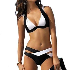 cheap Daily Deals-Women's Halter Neck Black Dark Blue Lilac Cheeky Bikini Swimwear - Color Block XL XXL XXXL Black / Underwire Bra