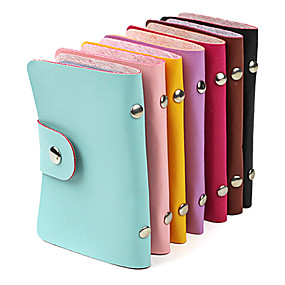 cheap Others-Stylish PU Leather Business Credit Card Holder(24-Pocket Assorted Color)