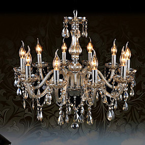 cheap Chandeliers-Ecolight™ 10-Light Candle-style Chandelier Ambient Light Chrome Glass Crystal 110-120V / 220-240V Bulb Not Included / E12 / E14