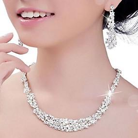 baratos Jóias-Mulheres Cristal Conjunto de Jóias Prateado Brincos Jóias Prateado Para Casamento Festa Aniversário Noivado
