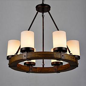 billige Hengelamper-6-Light Candle-stil Anheng Lys Opplys Malte Finishes Metall Glass Mini Stil 110-120V / 220-240V Varm Hvit / Hvit Pære ikke Inkludert / FCC / VDE / E26 / E27