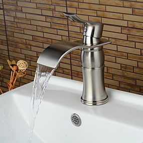hesapli İndirim Musluklar-Banyo Lavabo Bataryası - Şelale Fırçalanmış Nikel Tek Gövdeli Tek Kolu Bir DelikBath Taps / Pirinç