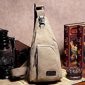 ราคาถูก รองเท้า และ กระเป๋า-ทุกเพศ กระเป๋าสะพายสลิง กระเป๋าผ้าแคนวาส ผ้าใบ สีพื้น สีน้ำตาล / อาร์มี่ กรีน / สีกากี