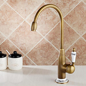 cheap Home Improvement-Kitchen faucet - Single Handle One Hole Antique Brass Tall / High Arc Deck Mounted Antique Kitchen Taps