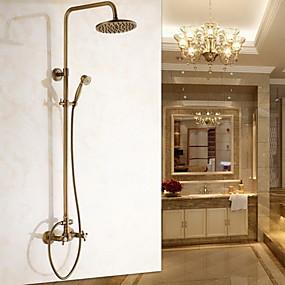 hesapli İndirim Musluklar-Duş Musluğu - Antik Antik Pirinç Duvara Monte Edilmiş Seramik Vana Bath Shower Mixer Taps / İki Kolları İki Delik