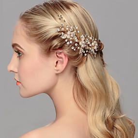 baratos Tiaras-Pérola Decoração de Cabelo / Pino de cabelo com Floral 1pç Casamento / Ocasião Especial / Casual Capacete