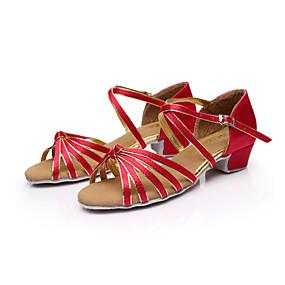 ราคาถูก รองเท้า และ กระเป๋า-สำหรับผู้หญิง ซาติน / หนังเทียม ลาติน / บอลล์รูม / Salsa หัวเข็มขัด รองเท้าแตะ ส้นต่ำ ไม่ตัดเฉพาะ น้ำตาล / ทอง / น้ำเงินรอยัล / EU40