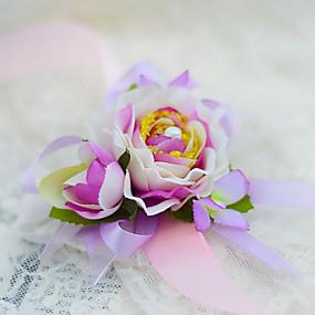 """baratos Flores-Bouquets de Noiva Buquê de Pulso Casamento Festa / Noite Seda Algodão 1.18""""(Aprox.3cm)"""