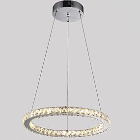 abordables Plafonniers-Circulaire Lampe suspendue Lumière d'ambiance Plaqué Métal Cristal, LED 110-120V / 220-240V Blanc Crème / Blanc Neige Source lumineuse de LED incluse / LED Intégré