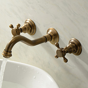 cheap Top Sellers-Bathroom Sink Faucet - Widespread Antique Brass Wall Mounted Three Holes / Two Handles Three HolesBath Taps